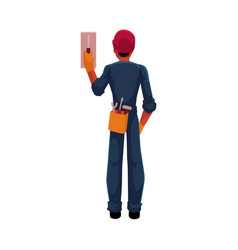 Construction worker electrician in jumpsuit vector