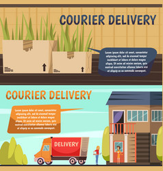 Courier delivery 2 orthogonal banners vector