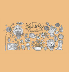 cozy fall hand drawn vector image