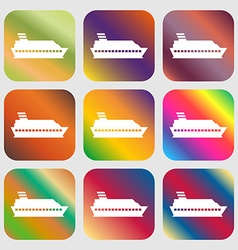 Cruise sea ship icon sign Nine buttons with bright vector image