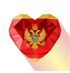Crystal montenegrin heart flag of montenegro vector