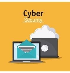 Cyber security laptop design vector