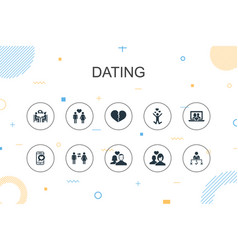 Dating trendy infographic template thin line vector