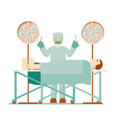 Doctor surgeon and patient anesthesia in operating vector