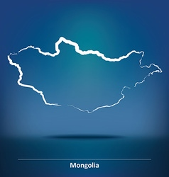 Doodle Map of Mongolia vector image