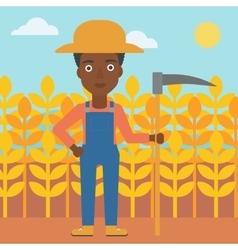 Farmer on the field with scythe vector