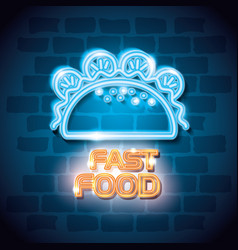 fast food burrito neon label vector image