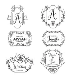 Feminine floral wedding logo collection vector
