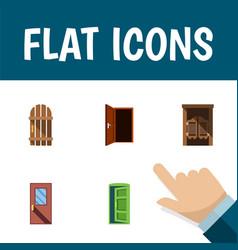 flat icon door set of approach wooden fence door vector image