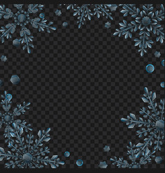 frame large transparent christmas snowflakes vector image