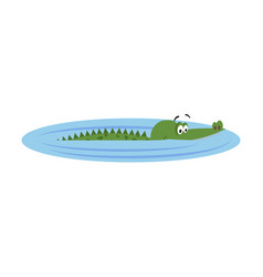 friendly cartoon crocodile swims in lake vector image