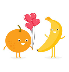 funny cartoon couples character banana and orange vector image