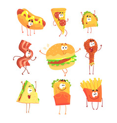 Funny fast food set for label design cartoon vector