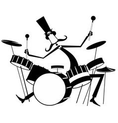 Funny mustache drummer isolated vector