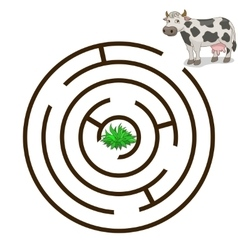 Game labyrinth find a way cow vector
