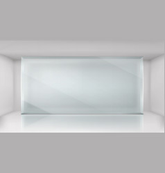 Glass wall frame in empty exhibition room vector