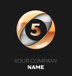 golden number five logo in the silver-golden circl vector image