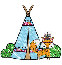 Grated fox animal with camp design and bushes vector