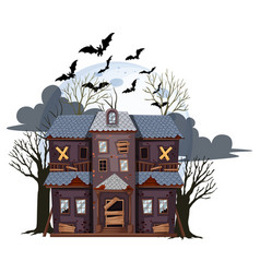 Halloween abandoned house on white background vector