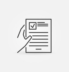 hand with document concept icon in thin vector image