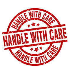 Handle with care round red grunge stamp vector