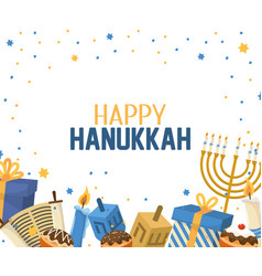 Hanukkah celebration with presents and candles vector