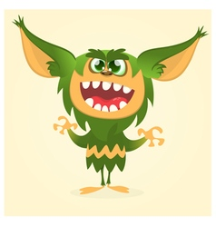 Happy cartoon gremlin monster vector