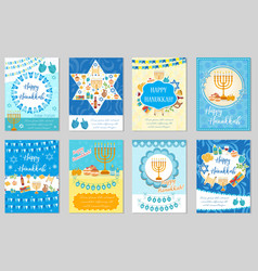 Happy hanukkah set of greeting cards flyer vector
