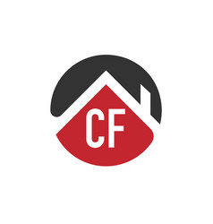 Initial letter cf building logo design template vector