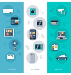 Internet things flat banners set vector