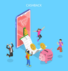 isometric flat concept cash back vector image