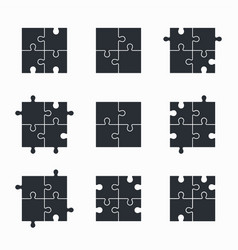 Jigsaw puzzle icon set vector