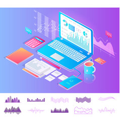 laptop on desktop with diagrams workplace concept vector image