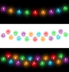 Led Christmas lights on black and white vector