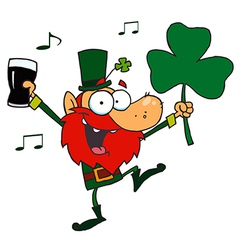 Leprechaun Dancing with a Glass of Beer vector image
