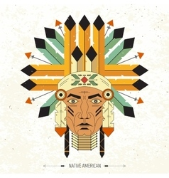 Linear portrait native indian vector