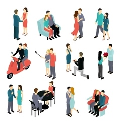 Loving Couples Isometric Set vector