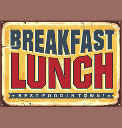 Lunch and breakfast vintage diner advertisement vector