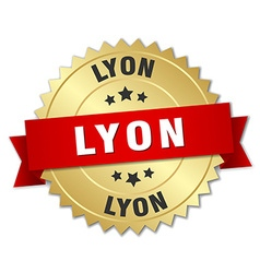Lyon round golden badge with red ribbon vector