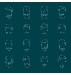 mans hair set beards and mustaches line vector image