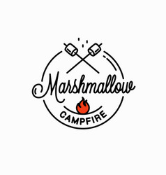 marshmallows campfire logo round linear on white vector image