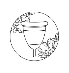 Menstrual cup female with leafs in frame vector