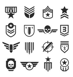 Military and army design element icon set vector