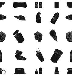 Milk product and sweet pattern icons in black vector