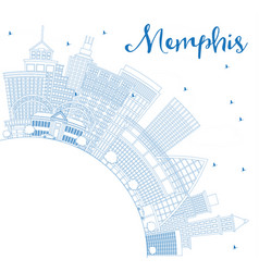 Outline memphis usa city skyline with blue vector