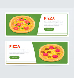 pizza banner template with different ingredients vector image