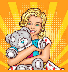 Pop art smiling little girl hugging her vector