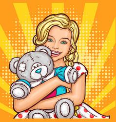 pop art smiling little girl hugging her vector image