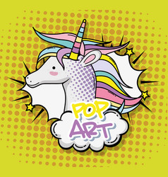 Pop art unicorn vector