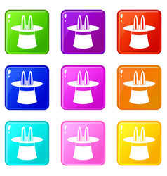 rabbit ears appearing from a top magic hat set 9 vector image